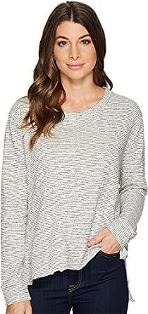 Mod-o-doc Women's Mini Zigzag Stripe Step Hem Boxy Sweater Carbon X-Small