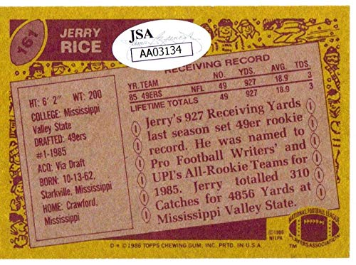 Jerry Rice autographed signed card NFL San Francisco 49ers JSA Super Bowl