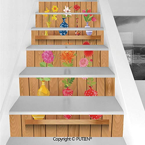 PUTIEN Funky Stair Stickers Wall Stickers,6 PCS Self-Adhesive [ Daffodil,Glass Vases with Colorful Flowers