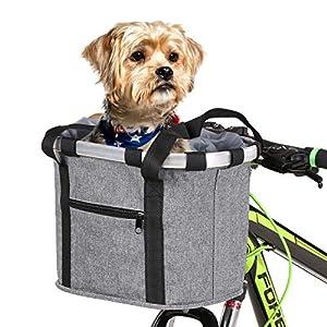 51RUjlT8qBL. SS300 Lixada Cestino per Bici Tela Staccabile, Trasportino per Animali Domestici Telaio in Lega di Alluminio Borsa Frontale…