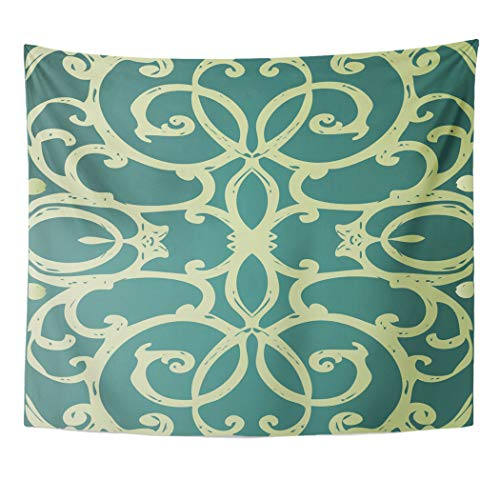 Semtomn Tapestry Wall Hanging Green Announcement Jewel Tone Floral Fretwork Teal Nouveau Curls 50