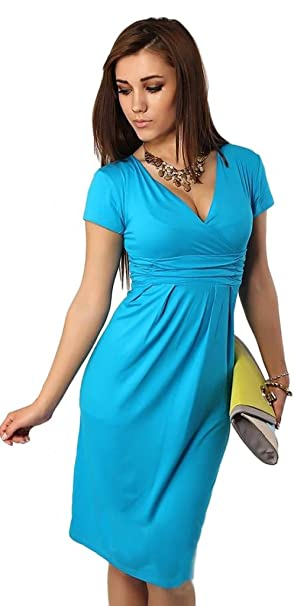 Eyekepper Cómoda manga corta de cuello en V mujeres embarazadas vestido (Cielo azul, EU30): Amazon.es: Ropa y accesorios