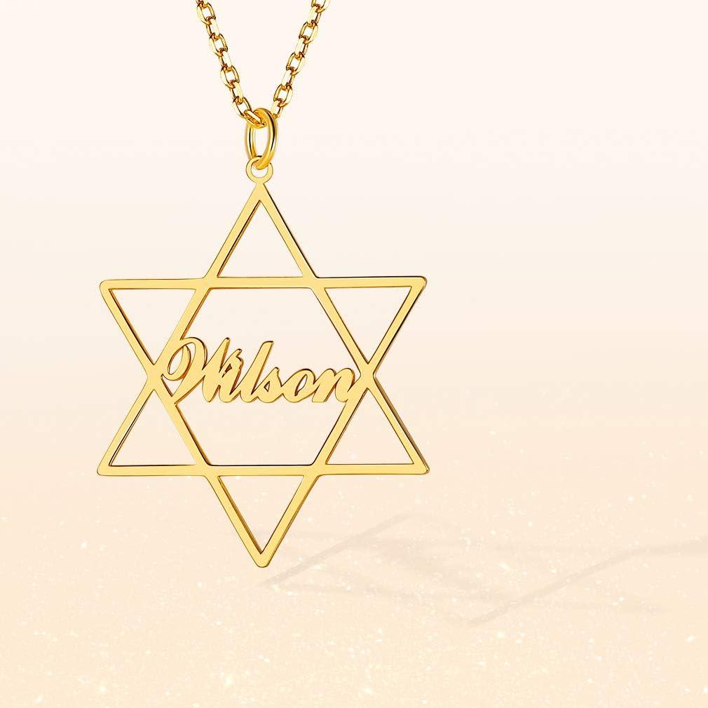 Custom4U Nombres Personalizados Collar Cobre Plata de Ley 925 Chapado en Platino y Oro para Mujeres Joyer/ía Moderna Exclusivo Signo Infinito Amor Eterno Estrella David