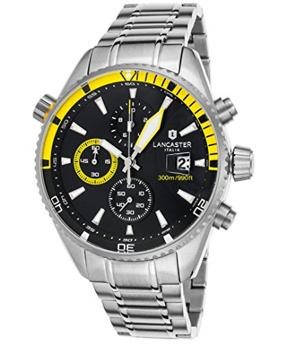 Yellow Chronograph Mens - Lancaster Italy Ola1066mb-Ss-Nr-Gl Men's Cheyenne Chronograph Stainless Steel Black Dial Yellow Accents Watch