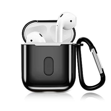 METEQI Funda Compatible con AirPods, TPU Metalic Protective Funda Protectora con Llavero para el Estuche de Carga Apple AirPods 1st / 2nd Case (Negro): Amazon.es: Electrónica