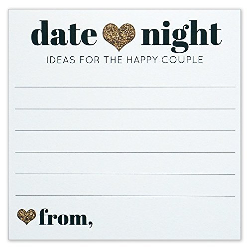 Date Night Ideas for the Happy Couple - Idea Jar Card - Wedding Advice Cards - Gold Heart - 4x4 Square - Pack of 40 (Wedding Shower Ideas)