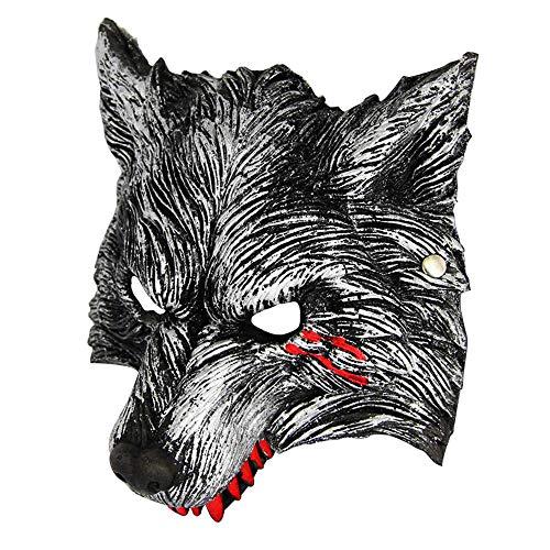 Werewolf Adult Vinyl Chin Strap Mask - heytech Halloween Werewolf Mask with Blood