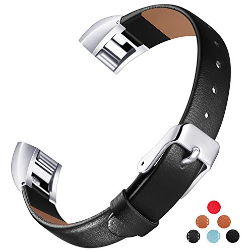 For Fitbit Alta HR and Alta Leather Bands, Konikit Classic Premium Genuine Leather Soft Slim Replacement Wristband Vintage Strap Accessories with Metal Buckle Clasp, Women Men