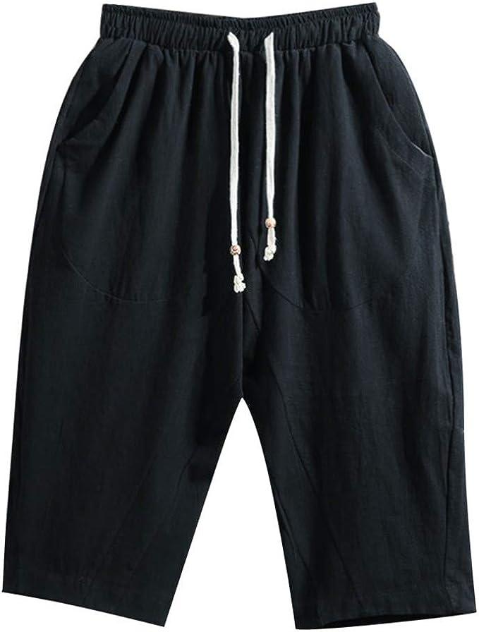 XuanhaFU Pantalones Cortos Hombre, Pantalones Cortos Casuales de Algodón y Lino Japoneses para Hombres, Ropa de Hogar, Playa, Exterior: Amazon.es: Ropa y accesorios