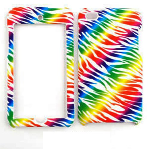 - Cell Armor Snap-On Cover for iPod touch 4 (Rainbow Zebra Print On White)
