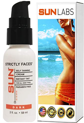 Sun Laboratories Strictly Faces 2 fl oz. - Face Self Tanner - Natural Facial Sunless Tanning Lotion, Face for Bronzing and Golden Tan - Dark Sunless Bronzer Flawless Fake Tanning (Packaging May Very)