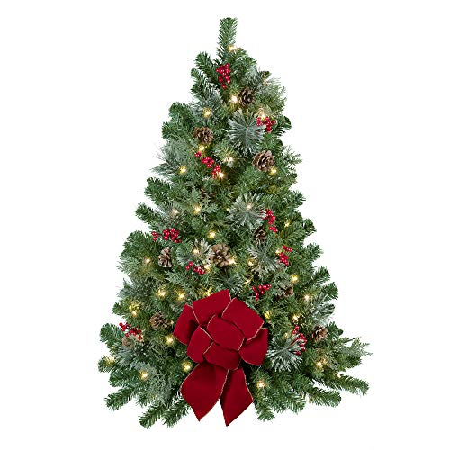 Haute Decor 3' Easy Hang Christmas Tree with Built-in Timer for Walls or Front Doors, Pre-lit with 50 Warm White LED Lights, Berries, Pinecones and a Red Bow for Indoor or Outdoor Use (Wallhangings Christmas)