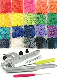 200 KAMsnaps® 20-Color Starter Pack: KAM Snaps Snap Press Pliers Plastic Snap-On Buttons Fasteners Installation Punch Poppers Attachment Setting Tool for Bibs Diapers