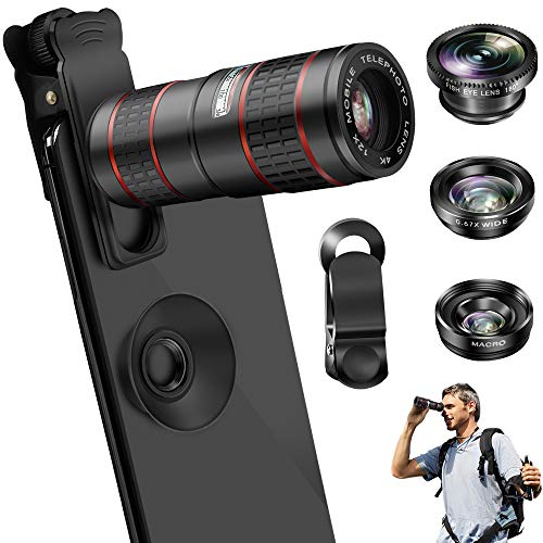 Phone Camera Lens, OYRGCIK 5 in 1 Phone Lens Kit 12X Zoom Telephoto Lens with Telescope + Fisheye Lens + Wide Angle Lens + Macro Lens Compatible with iPhone 11 Pro Max XR XS Max X Samsung S10 S10e S9