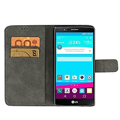 LG G5 Case Cover, Safodo[Kickstand Feature] Premium PU Leather Flip Cover Wallet Case [Grid Pattern] for LG G5, [Brown/Black] from Safodo