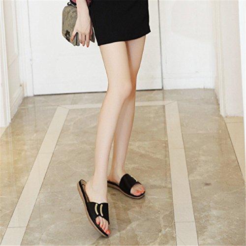 d'été Mode pourcasuel Fanessy Femme Style en Plage Simple Style Sabots Mules Noir Confortable et Bohème TXZqgw0q