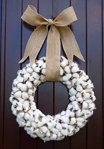 Starburst Thick Cotton Wreath with Burlap Bow and Preserved Cotton Bolls for Rustic Home Decor Look in 18.5 Inch Diameter