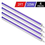Byingo UV Black Light Fixtures 2ft 10W LED T5 Integrated Single Fixture Extendable Tube Bulb Blacklight for DJ Stage Dorm Party Club, Corded Included Built-in ON/Off Switch Plug and Play, 4-Pack