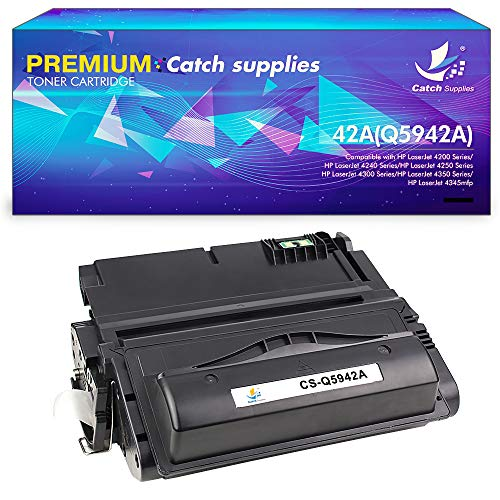 Catch Supplies Compatible Toner Cartridge Replacement for HP Q5942A 42A Q1338A 38A Toner for HP Laserjet 4200 4200n 4240 4250 4250n 4250tn 4250dtn 4200tn 4300 4300n 4350dtn 4345mfp Printer Ink 1Pack