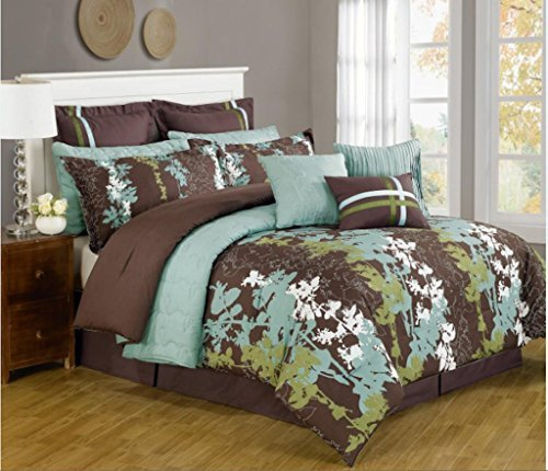 12 Pc. Teal, Green, Brown and White Floral Print Comforter Set with Quilt Included. Queen Size