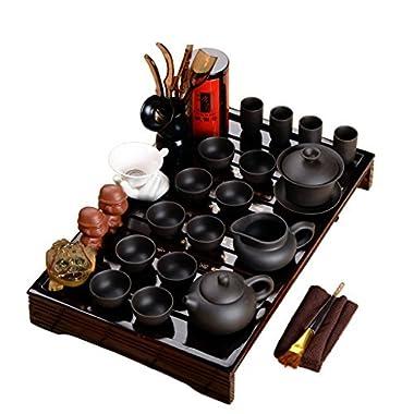 Wood Tea Tray Ceramic Kung Fu Tea Set Tea Service Dark-red Enameled Pottery Teapot (Black Tea Sets)