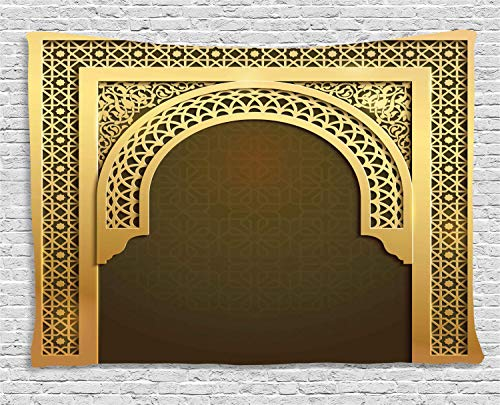 - Ambesonne Moroccan Tapestry, Middle Eastern Culture Greeting Scroll Arch Figure Celebration Ancient Theme, Wall Hanging for Bedroom Living Room Dorm, 80 W X 60 L Inches, Yellow and Brown