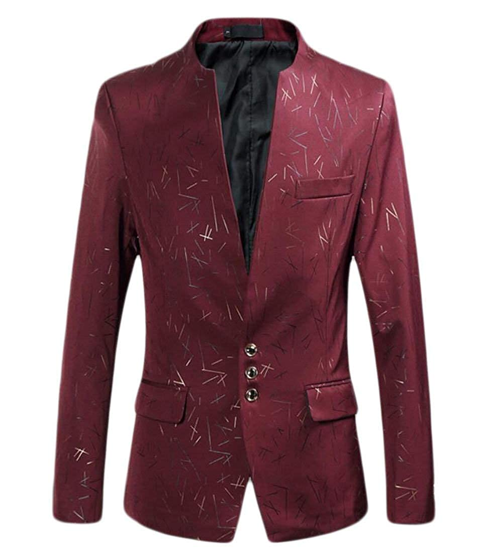 Blazer Men's Stand Collar Slim Blazer Men's Fit Modern Casual Suit Jackets Stylish Long Sleeve Leisure Vintage Men's Men's Blazer 1 Button None