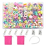 NEFUTRY DIY Beads Set Necklace Bracelet Jewelry Making Crafts Kits for Girls Kids 1000 Beads of 24 Different Types and Shapes