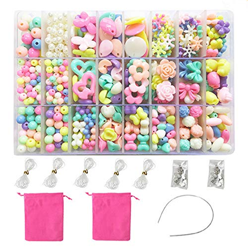 NEFUTRY DIY Beads Set Necklace Bracelet Jewelry Making Crafts Kits for Girls Kids 1000 Beads of 24 Different Types and Shapes -