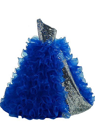 Hong One Shoulder Sequined Glitz Long Pageant Dress 8 US Royal Blue