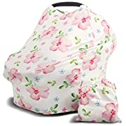 Baby Car Seat Cover and Nursing Cover for Girls, Infant Carseat Canopy and Breastfeeding Scarf for Babies (Pink) by Prichis Boutique