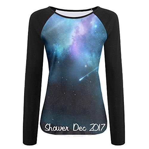 (Geminid Meteor Shower Dec 2017 Casual Baseball Boat Neckline Fashion Long Sleeve Womens Raglan)