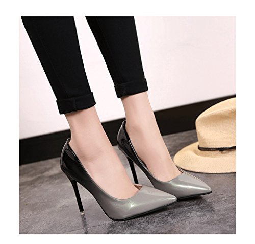 Elegant Feminine Shallow Mouth High Heels Gradient Color Sexy Work Shoes (Color : Gray, Size : 39)