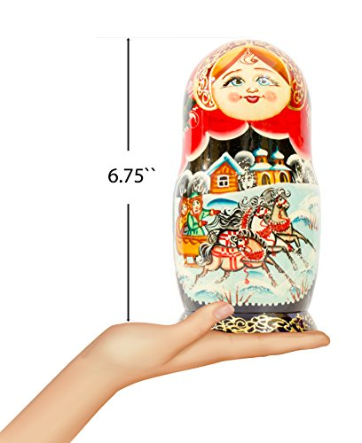 Russian Nesting Doll - Village Scenes - Hand Painted in Russia - 5 Color/Size Variations - Traditional Matryoshka Babushka (6.75``(5 Dolls in 1), Scene I) by craftsfromrussia (Image #2)