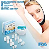 Anti Snoring Devices Snore Stopper - Adjustable Anti Snoring Chin Strap and 8 Pairs Anti Snoring Nose Vents - 2 Type Nasal Dilators.Combinated Snoring Solutions for Men and Women