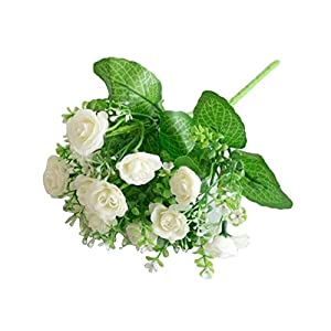 dezirZJjx Artificial Flowers 1 Pc/13 Buds Artificial Rose Flowers Grass Wedding Party Office Home Decoration - White 118