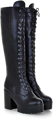 Women Knee High Boots Chunky Platform Goth Combat Lace Up High Wedge Lita01