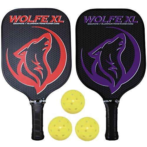 Wolfe XL Graphite Pickleball Paddle Set w/ 3 Pickleballs by Wolfe