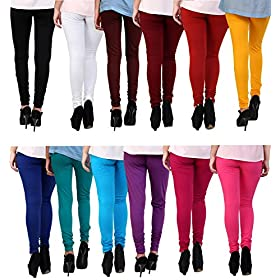 Anekaant Cotton Lycra Women's Churidar Legging Pack of 12