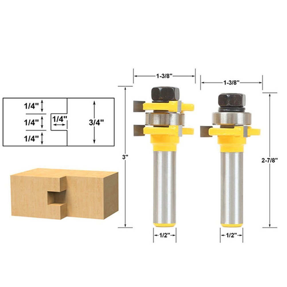2Pcs Tongue and Groove Router Bits Set, Adjustable 3 Teeth T Shape Wood Milling Cutter Joinery Bits, Woodworking Tools for Flooring Cabinet Door (1/4'' Height x 1/4'' Depth x 1/2'' Shank)