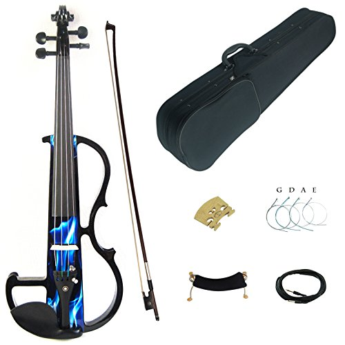 Kinglos 4/4 Blue Fire Colored Solid Wood Intermediate-B Electric / Silent Violin Kit with Ebony Fittings Full Size (DSZB0015) by Kinglos