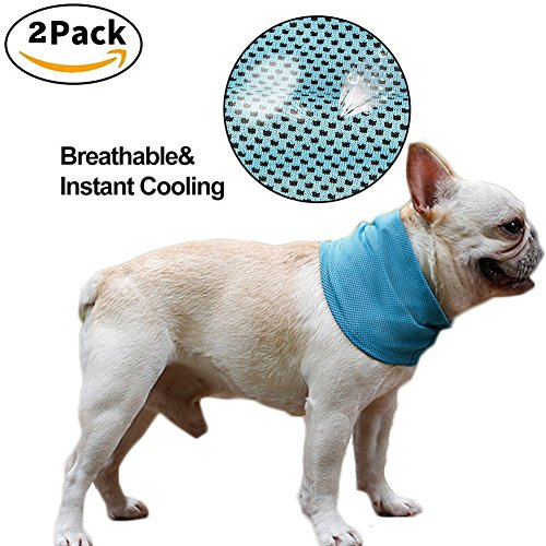 NACOCO 2 Pcs Dog Instant Cooling Scarf Summer Pet Bandana Cats Collar Ice Towels for Bulldog (M) (Cat Collar Ice)