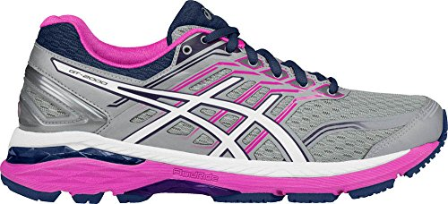 ASICS Women's GT-2000 5 Running Shoe, Mid Grey/White/Pink Glow, 9 M (Phase Two Accessories)