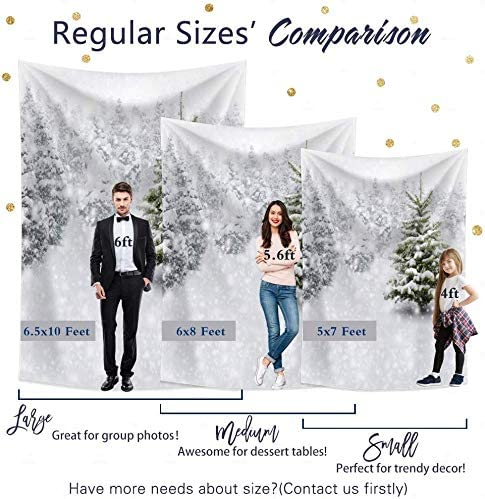10x8ft Winter Forest Christmas Snow Tree New Year for Kids Birthday Party Wallpaper Studio Wedding Cloth Family Portrait Background Cloth