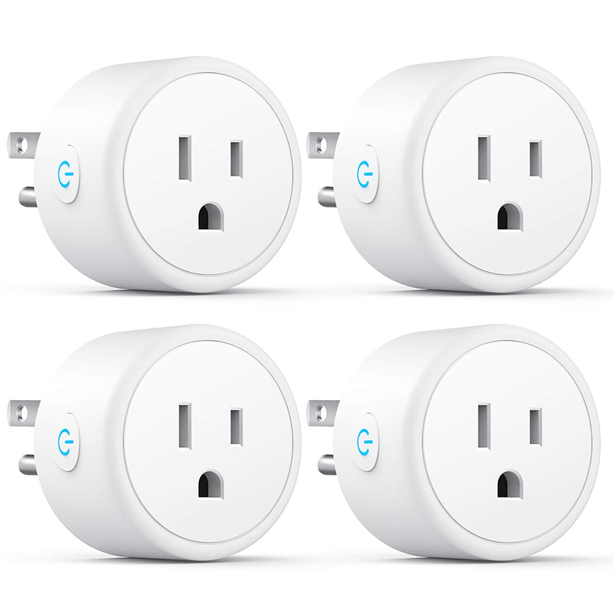 Mini Wi-Fi Smart Plug Works with Alexa Google Home and IFTTT, No Hub Required, Smart Socket with Timer Function, FCC ROHS Listed (4 Pack)