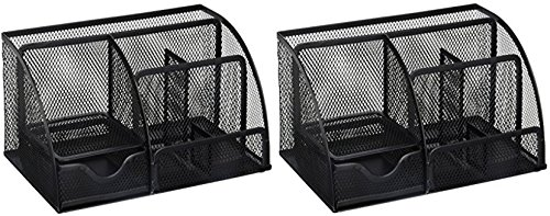 Greenco Mesh Office Supplies Desk Organizer Caddy, 6 Compartments, Black (2 Pack)