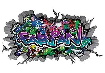 3d Wandtattoo Graffiti Wand Aufkleber Name Fabian Wanddurchbruch