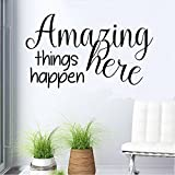 """Amazing Things Happen Here(Black) Wall decal 13""""wide X 22"""" High Classroom quote Education decal Teacher Decal School room Decal Children's Bedroom Decal, (13"""" x 22"""") (Black)"""