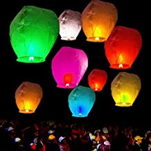 ALEKO® PFL01 50 Pack of Sky Lanterns Chinese Flying Wish Lantern Lamp for Weddings Birthday All Multicolored