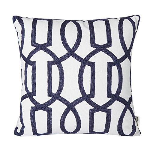 """Price comparison product image Mika Home Cotton Embroidery Geometric Links Accent Decorative Throw Pillow Cover Sofa Cushion Case for 18X18"""" inserts Navy White"""